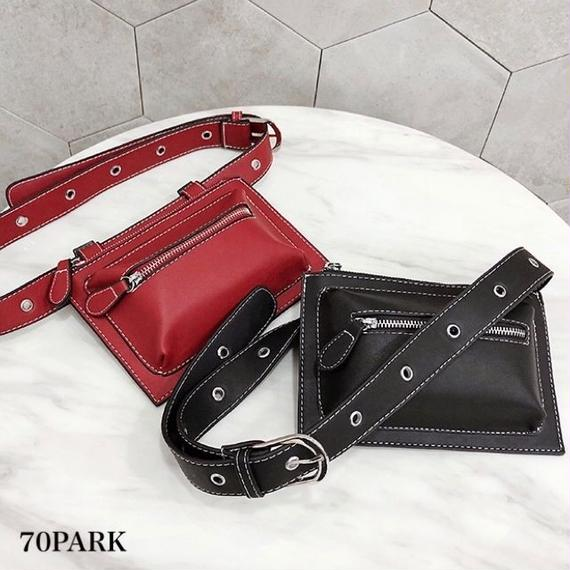 #2way  Faux Leather Bum Bag カラー ウエストポーチ バッグ 全3色 チェーン