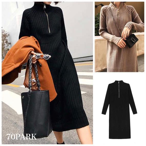 #Front Zip Rib Knit  Dress フロントジップ リブ ロング ニット ワンピース 全2色