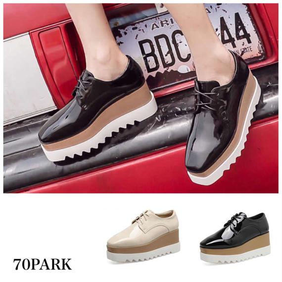 #Patent Leather Platform Oxford Shoes エナメル 厚底 プラットフォーム シューズ 全2色