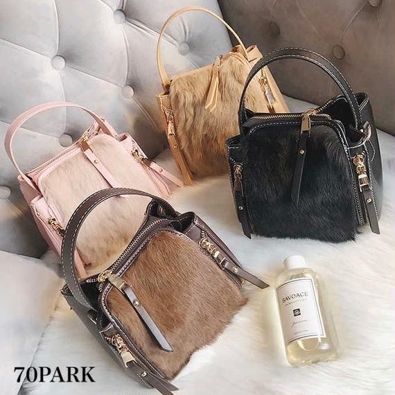 #2way Faux Fur Mini Shoulder Bag 部分ファー ミニ ショルダーバッグ 全5色
