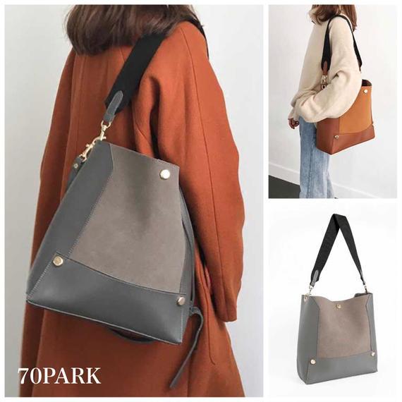 #2way Large Shoulder Bag  ポーチ付 大容量 ショルダーバッグ 全2色 トートバッグ A4