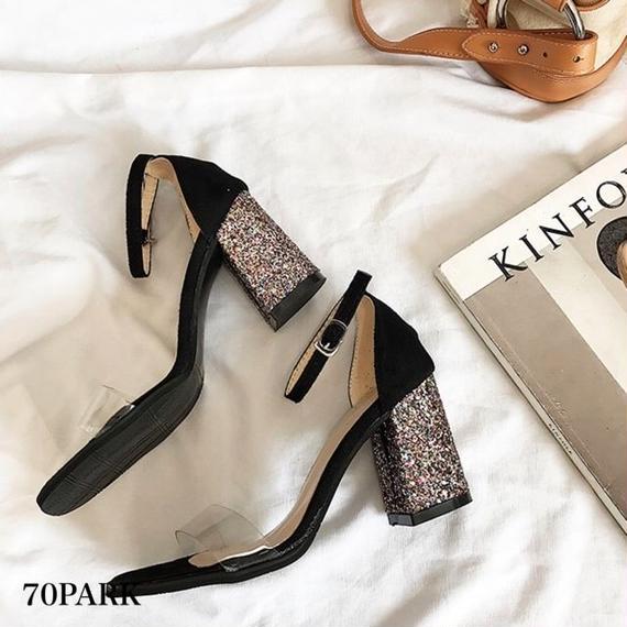 #Glitter Heel Sandals  グリッター ヒール アンクルストラップ クリア サンダル 全3色