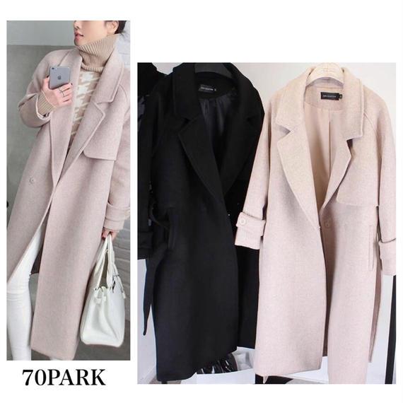 # Long Chester Coat   ウール混 ロングチェスターコート 2色  ロングコート