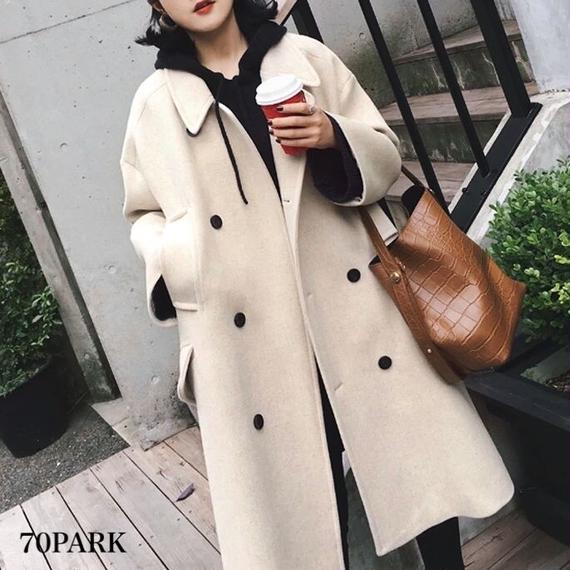 #Double Breasted Long Coat  ダブルボタン ロング コート 全2色 チェスターコート