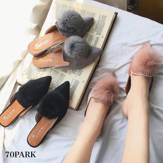 #Fur Pom Pom Mules ファー ポンポン付 スリッパ  サンダル  全3色 ミュール メタリック