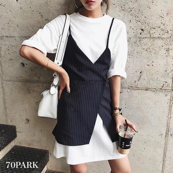 #Plain Tee with Striped Cami Dress Set  ストライプ柄 キャミソール + Tシャツ ワンピース セット ネイビー