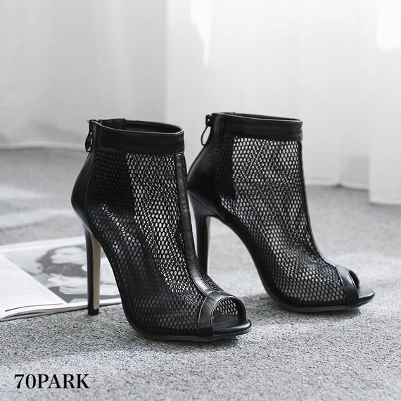 #Mesh Peep Toe Heeled Boots メッシュ オープントゥ 細ヒール ショート ブーツ ブラック