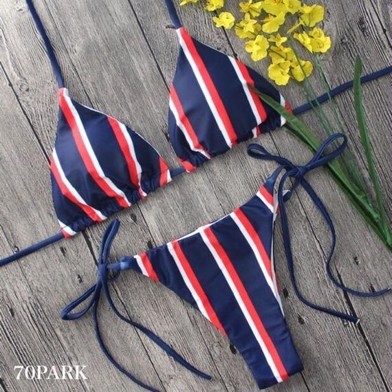 #Striped Triangle Bikini ストライプ柄 三角 ビキニ ネイビー ブラジリアン