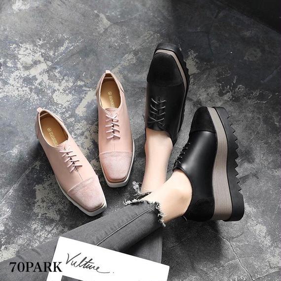 #Faux Leather Lace Up Platform Shoes コンビ素材 プラットフォーム シューズ 全2色 厚底