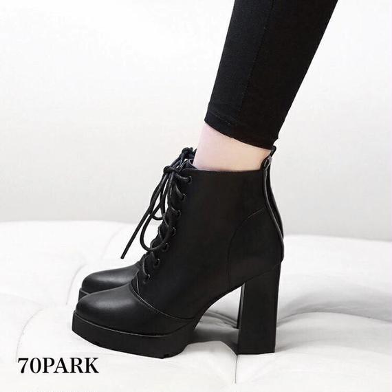 #Chunky Heel Lace Up Boots  太ヒール レースアップ ショート ブーツ ブラック