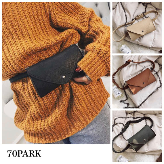 #2way  Faux Leather Mini Waist Pouch Bag  シンプル ミニ ウエストポーチ 全4色 ショルダー バッグ