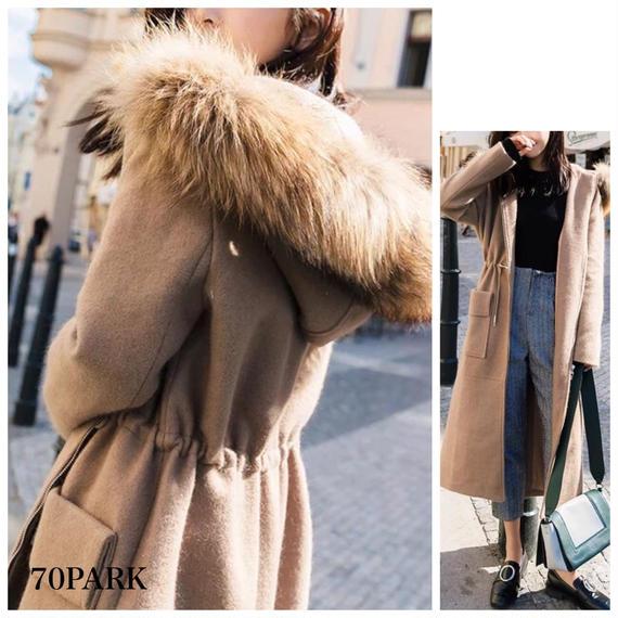 #Faux Fur Hooded Long Coat  ボリューム ファー付 ビッグフーディー ロングコート全4サイズ ブラウン