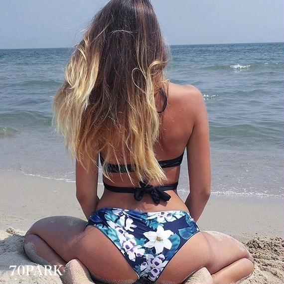 #Floral Print Cross Bikini フローラル プリント クロス ビキニ 水着 スイムスーツ  ネイビー 花柄