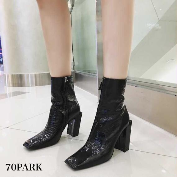 #  Square Toe Ankle Boots 変形ヒール フェイクレザー ショートブーツ 黒 ブラック
