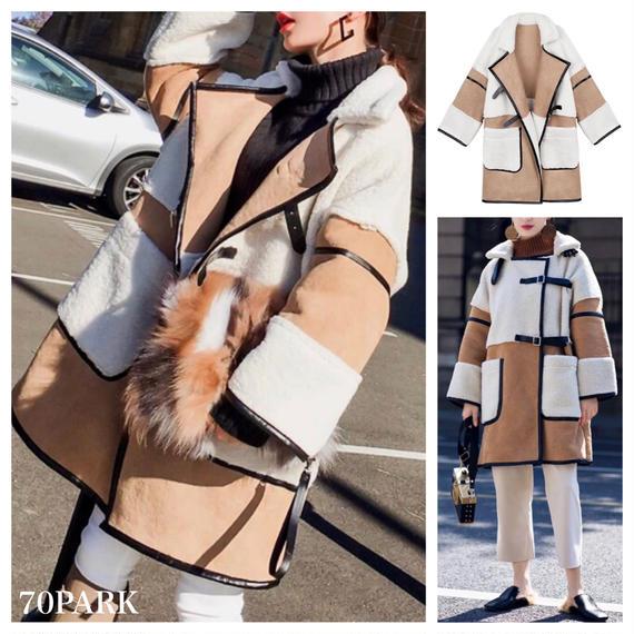 #Faux Mouton Boa Coat レザー パイピング フェイク ムートン ロング コート ベージュ ボア