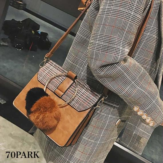 # 2way Glen Check Shoulder Bag ファーチャーム付 グレンチェック柄 リングハンドル ショルダーバッグ 全4色