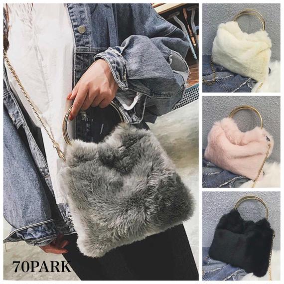 #2way Ring Handle Fur Chain Bag リングハンドル フェイクファー チェーン バッグ 全4色