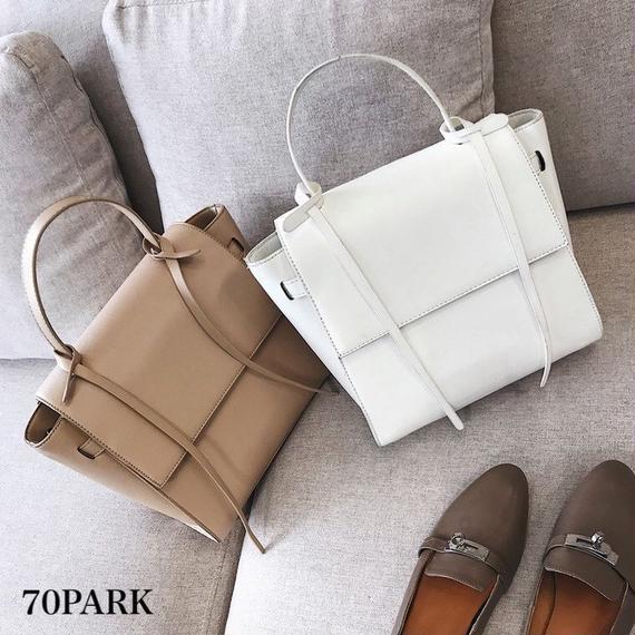 # 2way フェイクレザー シンプル フラップ バッグ 全4色