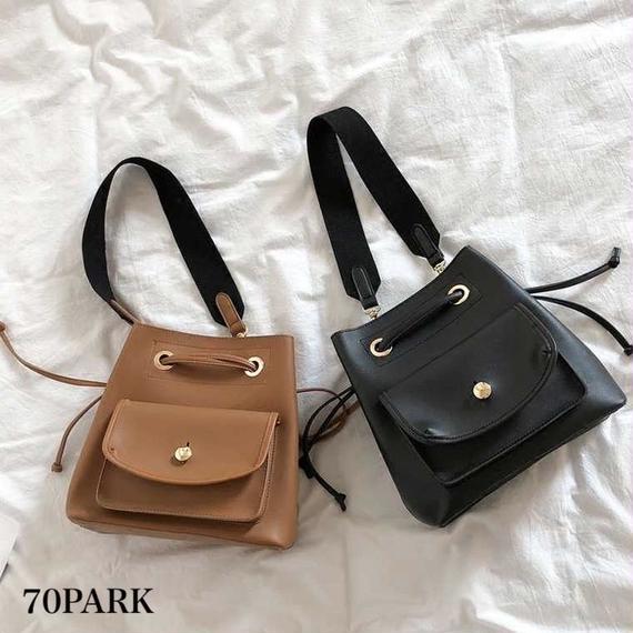 #Flap Pocket Shoulder Bag  フラップポケット 大容量 ショルダーバッグ 全2色