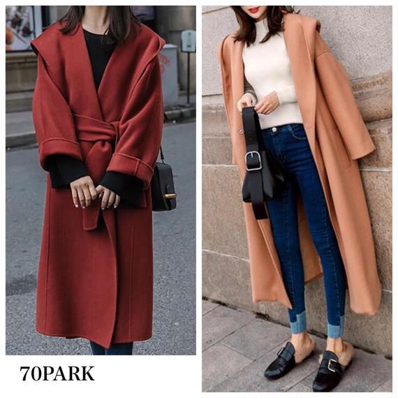 #Hooded Wrap Coat  フード付 シンプル ガウン コート 全2色  ロングコート