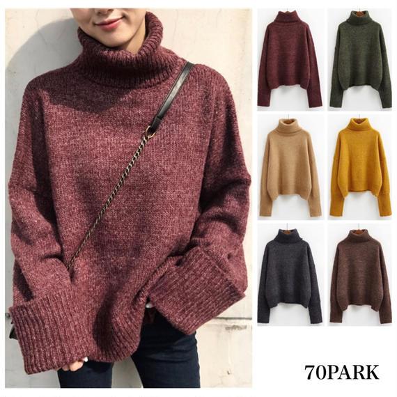 #Turtleneck Sweater タートルネック ニット トップス  6色 ロング袖
