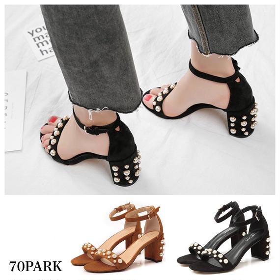 #Pearl Heel Sandals パールビジュー アンクルストラップ サンダル  全2色