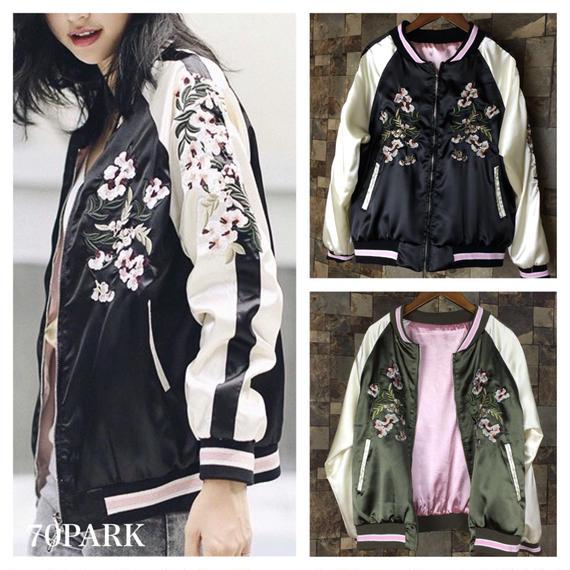 # Floral Embroidered Bomber Jacket  リバーシブル フラワー 刺繍 スカジャン 2色 ブルゾン  ボンバージャケット