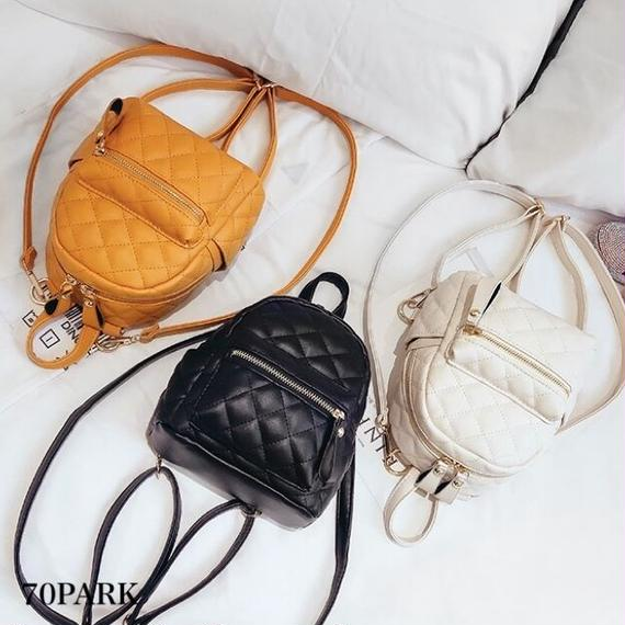 #Quilted Mini Backpack  フェイクレザー  キルティング ミニ バックパック 全3色