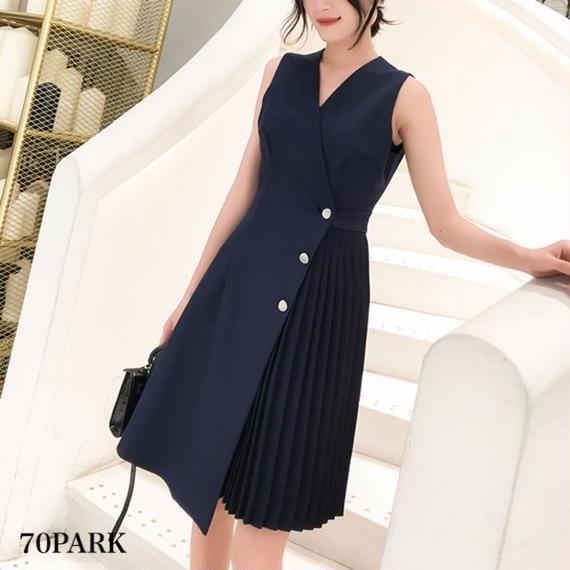 #Asymmetric Pleated Dress 細プリーツ アシンメトリー ノースリーブ ワンピース 全2色 パーティー