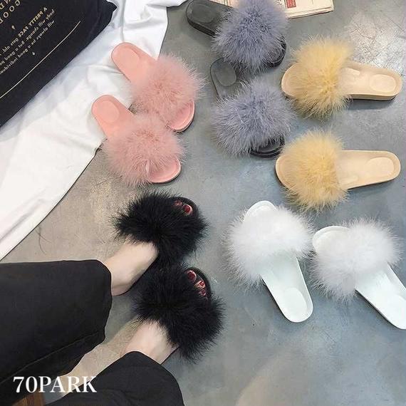 #Faux Fur Slides カラー ボリューム ファー シャワーサンダル 全5色
