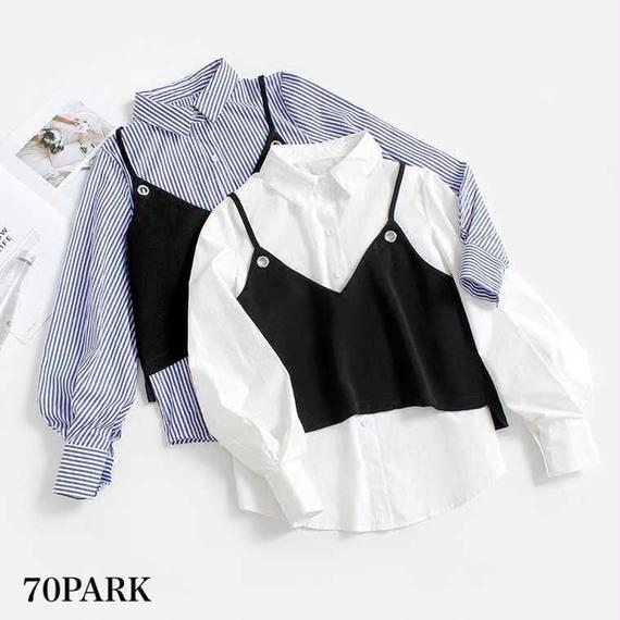 #Blouse & Camisole  Set キャミ付 レイヤード シャツ ブラウス 全2色 2点セット