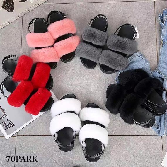 #Double Fur Strap Sandals ファー ダブルストラップ プラットフォーム サンダル  全5色