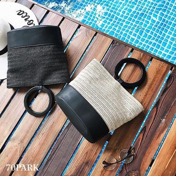 #2way Ring Handle Basket Bag  リング ハンドル カゴバッグ 全2色  トート ショルダー