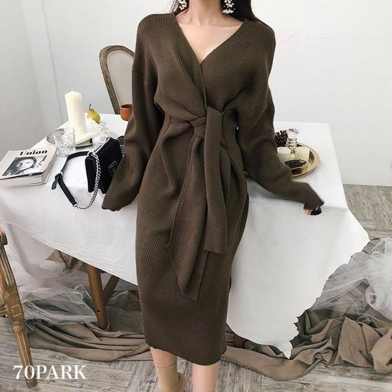 #Cache-Coeur Knit Dress  カシュクール スリット入り ニット ワンピース 全3色