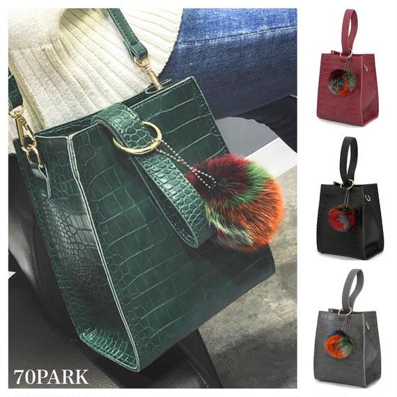 # 2way  One Handle Bag クロコ型押し ワンハンドル バッグ 全4色 ファー付