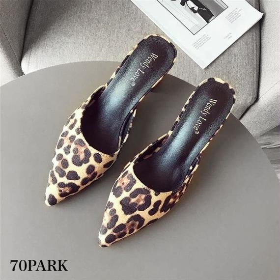 #Leopard Print Mules レオパード柄 ポインテッドトゥ 太ヒール ミュール