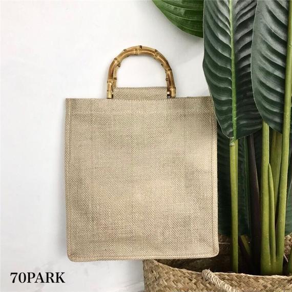 #Bamboo Handle Linen bag  ポーチ付き バンブー ハンドル リネン トートバッグ 全2色 A4
