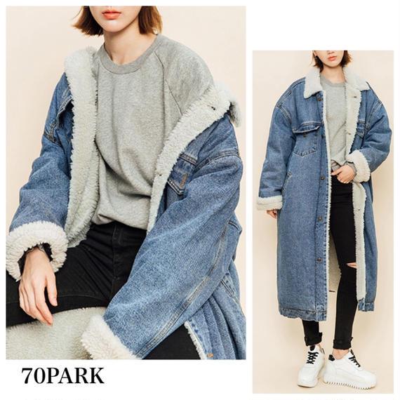#Oversized Denim Coat    オーバーサイズ ボア デニムコート Gジャン ファー ロング丈