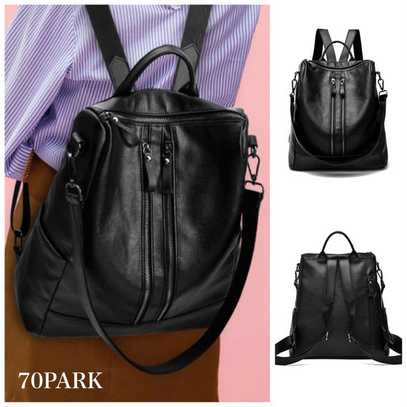 #2way Ftont Double Zip Backpack フロント ダブルジップ 大容量 バックパック ブラック A4