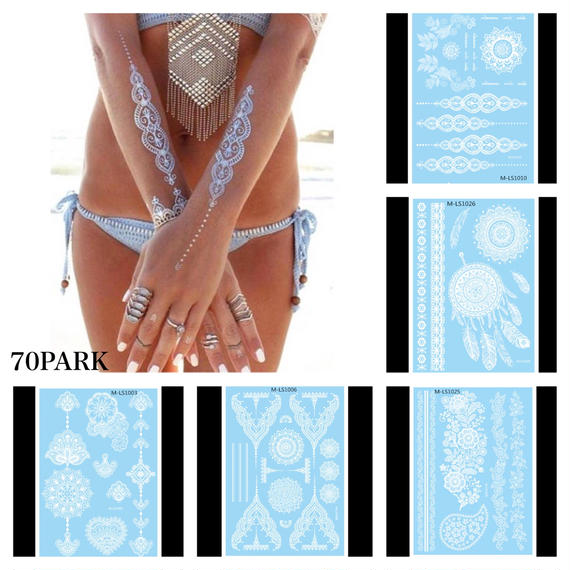 #White Henna Tatto Sticker  ホワイト ヘナ  タトゥー シール ステッカー