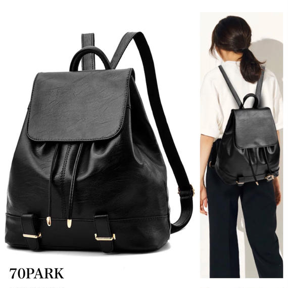 #Flap Faux Leather Backpack ゴールド金具 フラップ バックパック ブラック 黒 A4