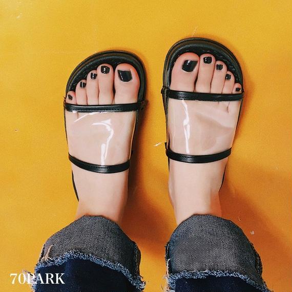 #Clear Slide Sandals クリア シャワーサンダル ブラック スポーツサンダル
