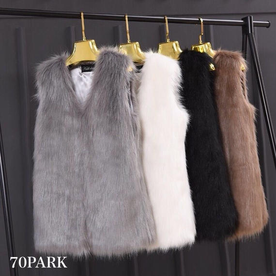 # Long Fur Vest ロング ファーベスト  5色 アウター ファーコート
