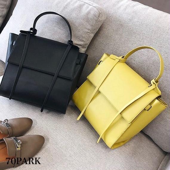 #2way Square Flap Bag フェイクレザー シンプル フラップ バッグ 全3色