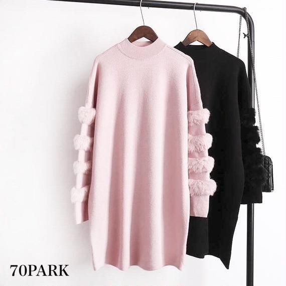 #Fur Sleeve Knit Tops 袖ファー ハイネック ロング ニット トップス 全3色 部分ファー