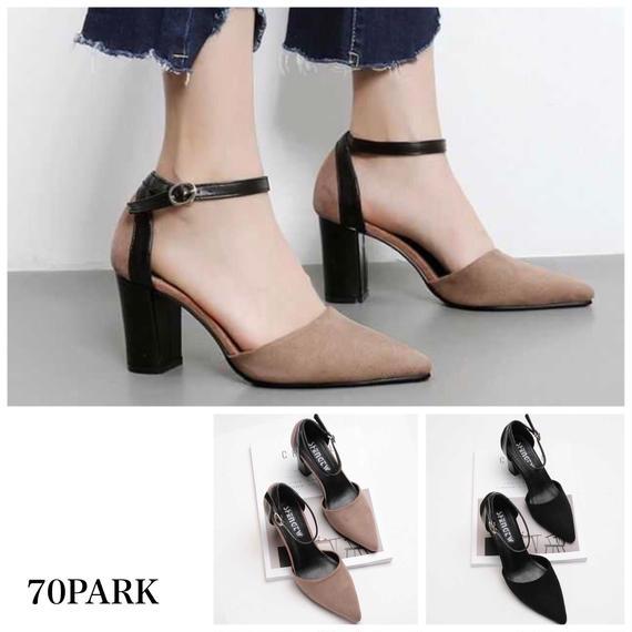 #Ankle Strap Pointed Toe Pumps  ブラックレザー 切り替え ポインテッドトゥ 太ヒール パンプス 全2色
