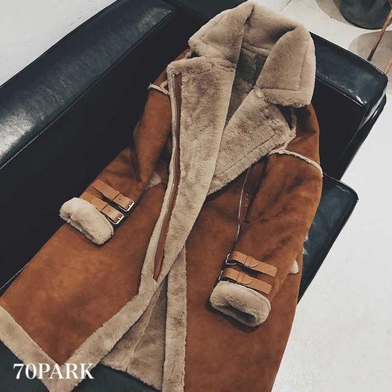 #Faux Mouton Long Coat  フェイクムートン ムスタン ロングコート 4サイズ展開 ブラウン
