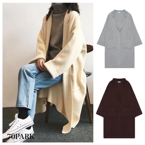 #Tailored Collar Long  Cardigan テーラードカラー ロング ニット カーディガン 全5色