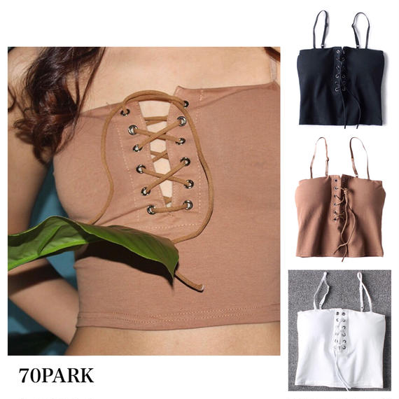 #Lace Up Cami Crop Top  カップ付 レースアップ クロップトップ  全3色 キャミソール  ビスチェ