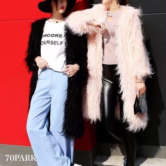 #Long Faux Fur Coat  エコファー ボリューム ロングコート 全2色